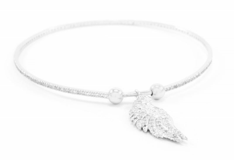 Angelic Connection Bangle, White Rhodium finished Sterling Silver with White Topaz Pave