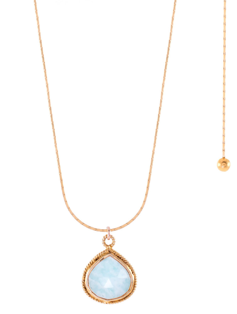 Amazonite Adjustable Necklace, 18K Gold Vermeil