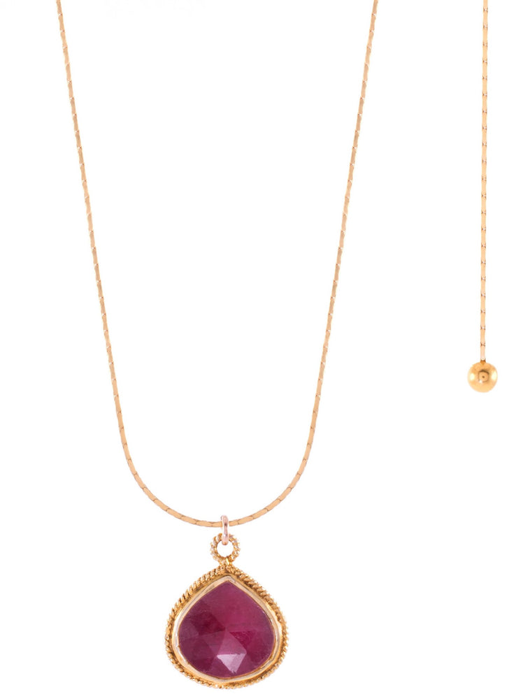 Ruby Adjustable Necklace, 18K Gold Vermeil