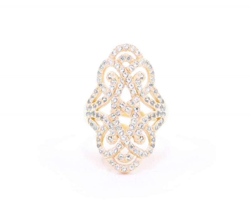 Infinite Love 18K Gold Vermeil with White Topaz Pave Adjustable Ring