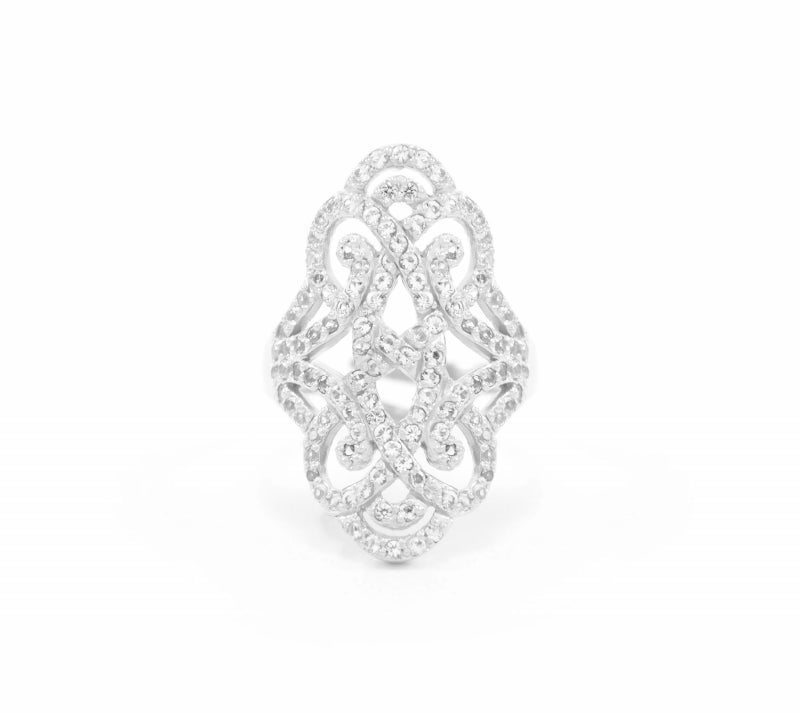 Infinite Love White Rhodium over Sterling Silver Pave Adjustable Ring
