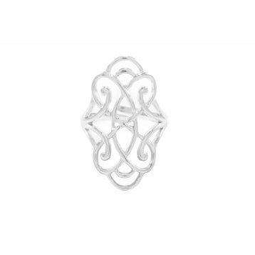 Infinite Love White Rhodium Adjustable Foliate Ring