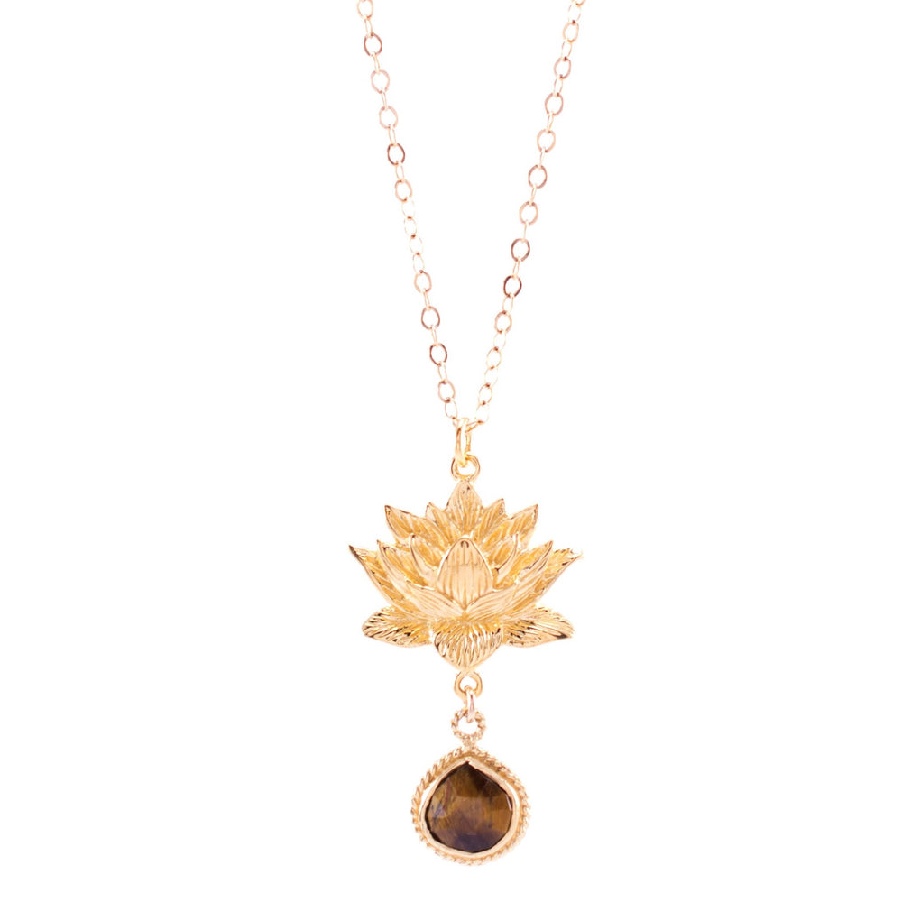 GOOD LUCK Lotus Necklace, Tiger's Eye, 18K Gold Vermeil