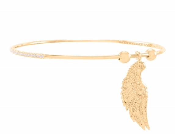 Archangel Gabriel Angel of Communication Bangle, 18K Gold Vermeil with White Topaz Stones