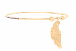 Archangel Zadkiel Angel of Mercy Bangle, 18K Gold Vermeil with Amethyst Crystal