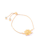 Awakened Lotus Adjustable Bracelet, 18k Gold Vermeil
