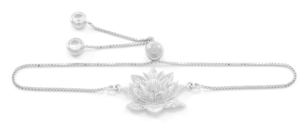 Awakened Lotus Adjustable Bracelet, White Rhodium