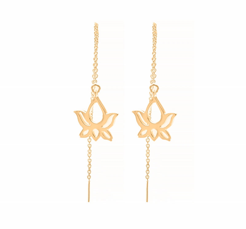 Lotus Threader Drop Earrings 18K Gold Vermeil, Large