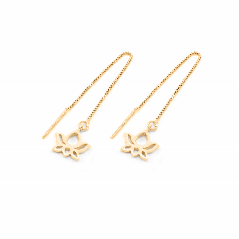 Small Lotus Threader Drop Earrings 18K Gold Vermeil