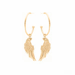 Angel Wing Hoop Earrings 18K Gold Vermeil