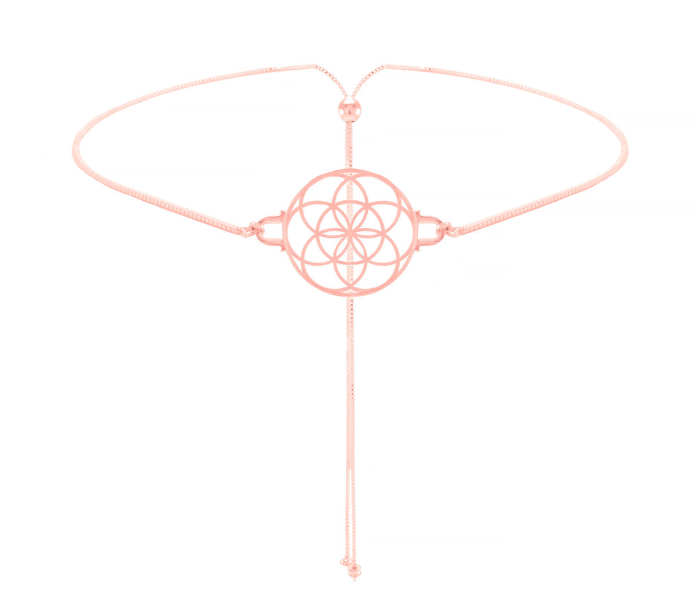 Seed of Life Choker/Lariat Style, Reversible Necklace Rose Gold Vermeil