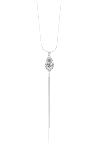 Aromatherapy Diffuser Locket Lariat Style Sterling Silver, White Rhodium finished