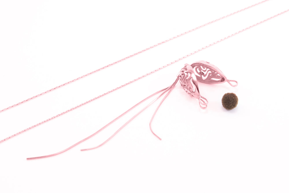 Aromatherapy Diffuser Locket Lariat Style, Sterling Silver, Rose Gold finished