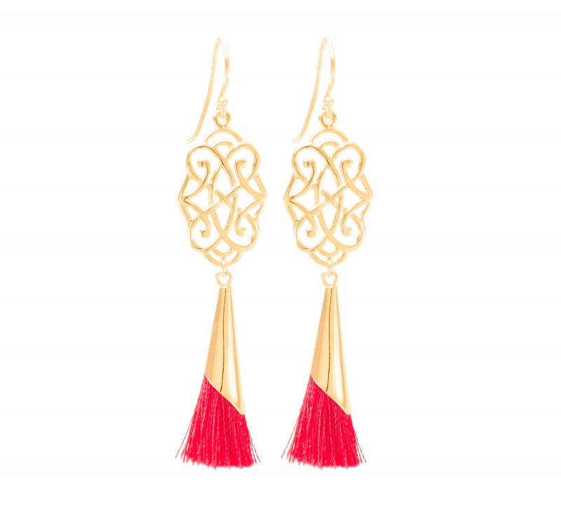 Infinite Love Red Tassel Earrings 18K Gold Vermeil, Holiday Edition