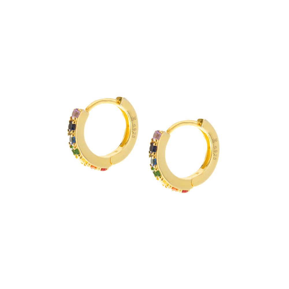 Chakra Align Rainbow Huggie Hoop Earrings, 18k Gold Vermeil *Seen in Vanity Fair UK