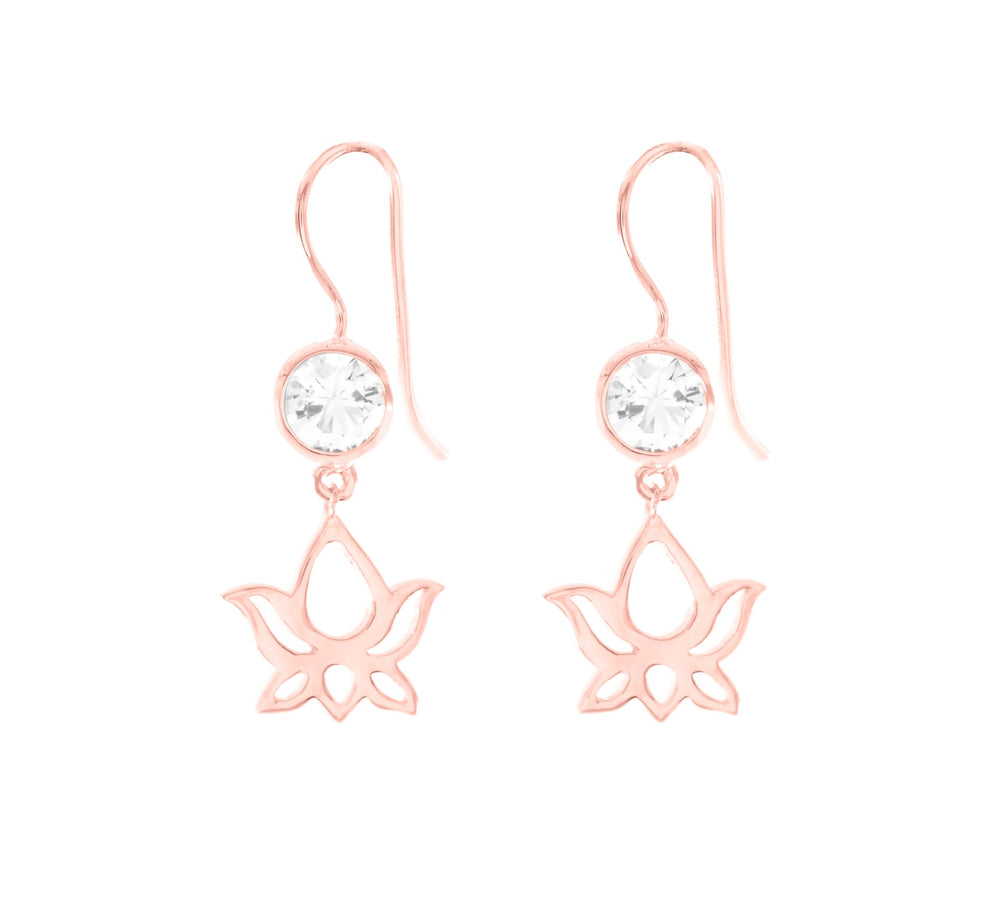 Lotus Dangle Earrings White Topaz, Rose Gold Vermeil