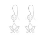 Lotus Dangle Earrings White Topaz, White Rhodium finished Sterling Silver