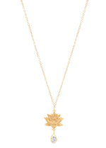 Royal Lotus Necklace with CZ, 18K Gold Vermeil