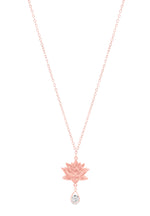 Royal Lotus Necklace with CZ, Rose Gold Vermeil