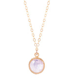 Rose Quartz Small Round Gemstone Necklace, Gold Vermeil