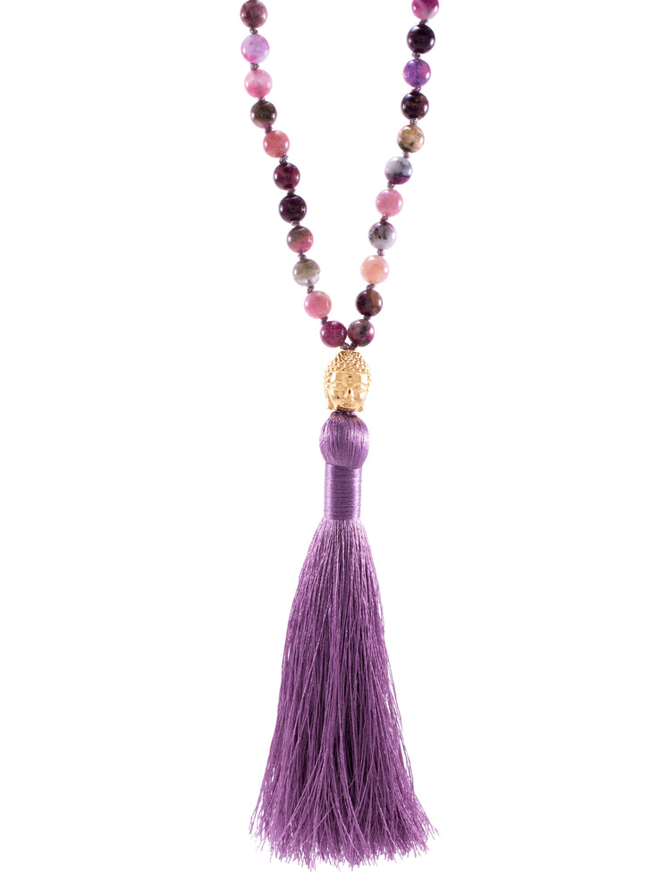 Higher Consciousness Tourmaline Buddha Mala, 18K gold