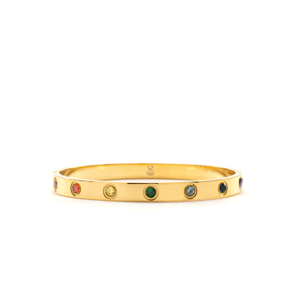 Chakra Healing Stone Bangle, 18k Gold finished Stainless Steel, Size S/M