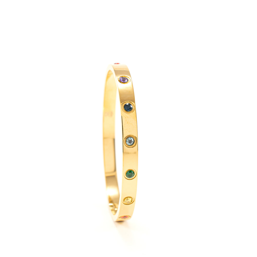 Chakra Healing Stone Bangle, 18k Gold finished Stainless Steel, Size S/M *Updated for 2021