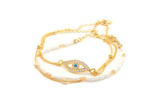 Evil Eye Bracelet Set, 18k Gold Plated Sterling Silver