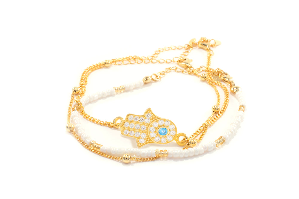 Hamsa Hand Bracelet Set, 18k Gold Plated Sterling Silver