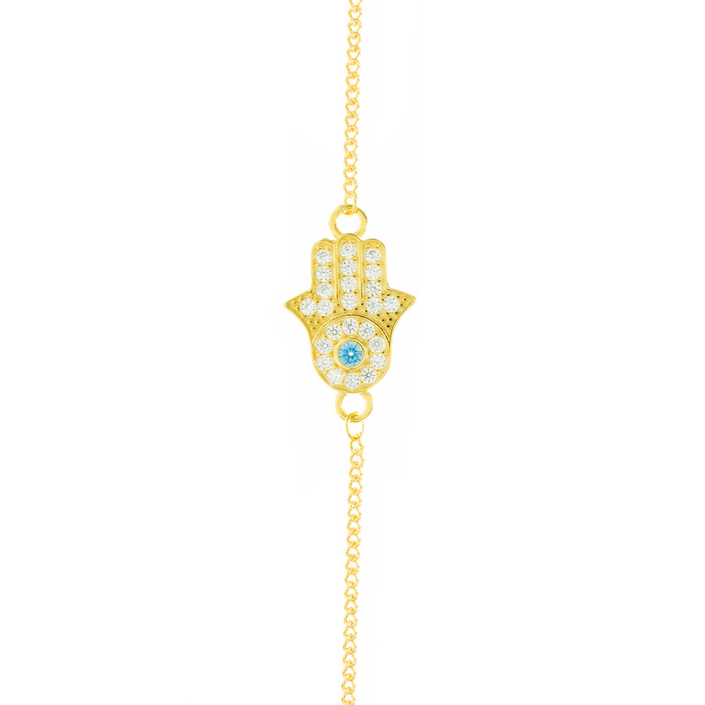 Hamsa Hand Protection Bracelet, Gold Plated Sterling Silver, Zirconia Diamond