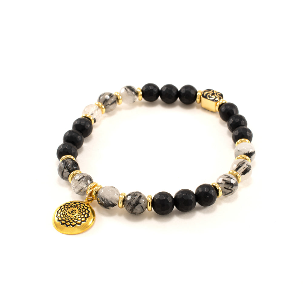 Chakra Crown Activation Bracelet, Rutilated Quartz & Onyx