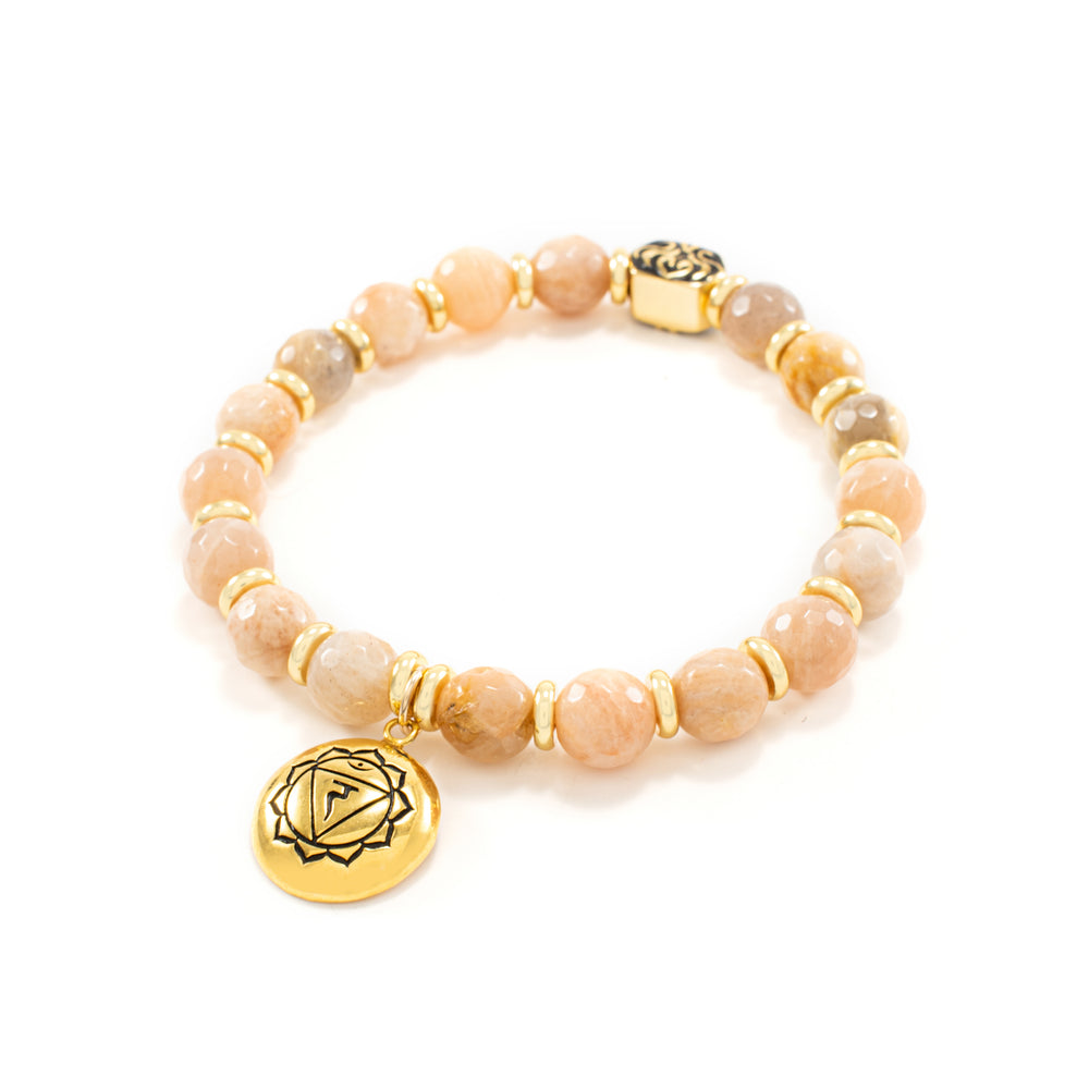 Solar Plexus Chakra Activation Bracelet Sunstone, 18k Gold Finish
