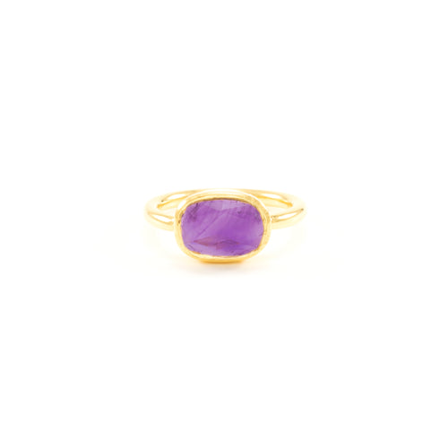 Amethyst Higher Consciousness Minimalist Ring
