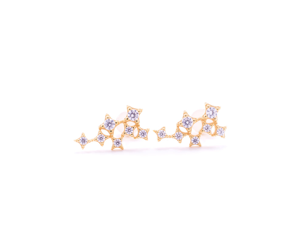 Star Cluster Stud Earring with Zirconia Diamond, 18k Gold Vermeil