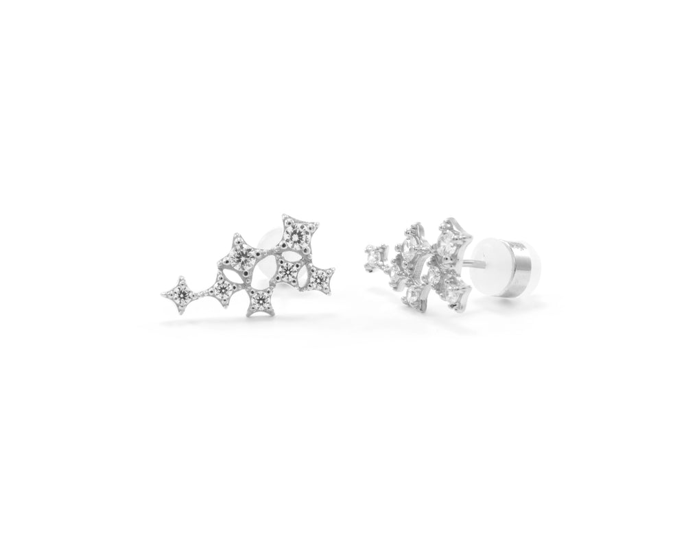 Star Cluster Stud Earring with Zirconia Diamond, White Rhodium Finish