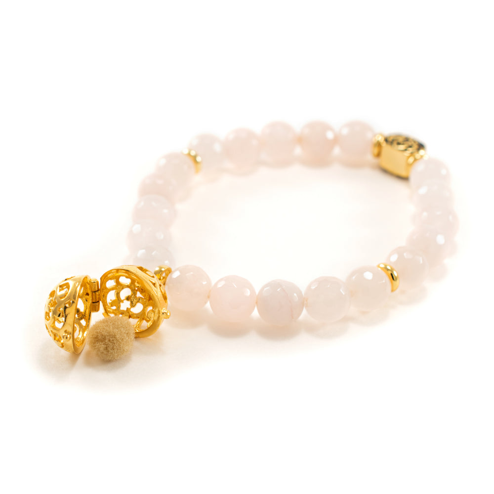 Loving Heart Aromatherapy Bracelet Diffuser Gift Set, Rose Quartz, 18k Gold Plated, with Oil