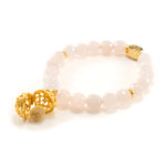Loving Heart Aromatherapy Bracelet Diffuser Gift Set, Rose Quartz, 18k Gold Vermeil with Oil