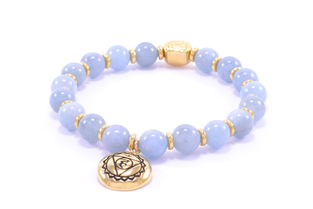 Throat Chakra Aquamarine Activation Bracelet 18K Gold Finish