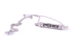 WAHE GURU Sterling Silver White Topaz Prayer Pendant