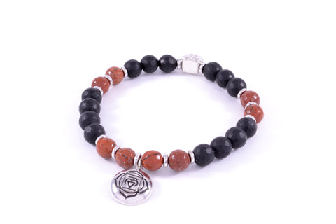 CHAKRA Root Activation Bracelet Faceted Red Jasper, Black Onyx, White Rhodium Finish