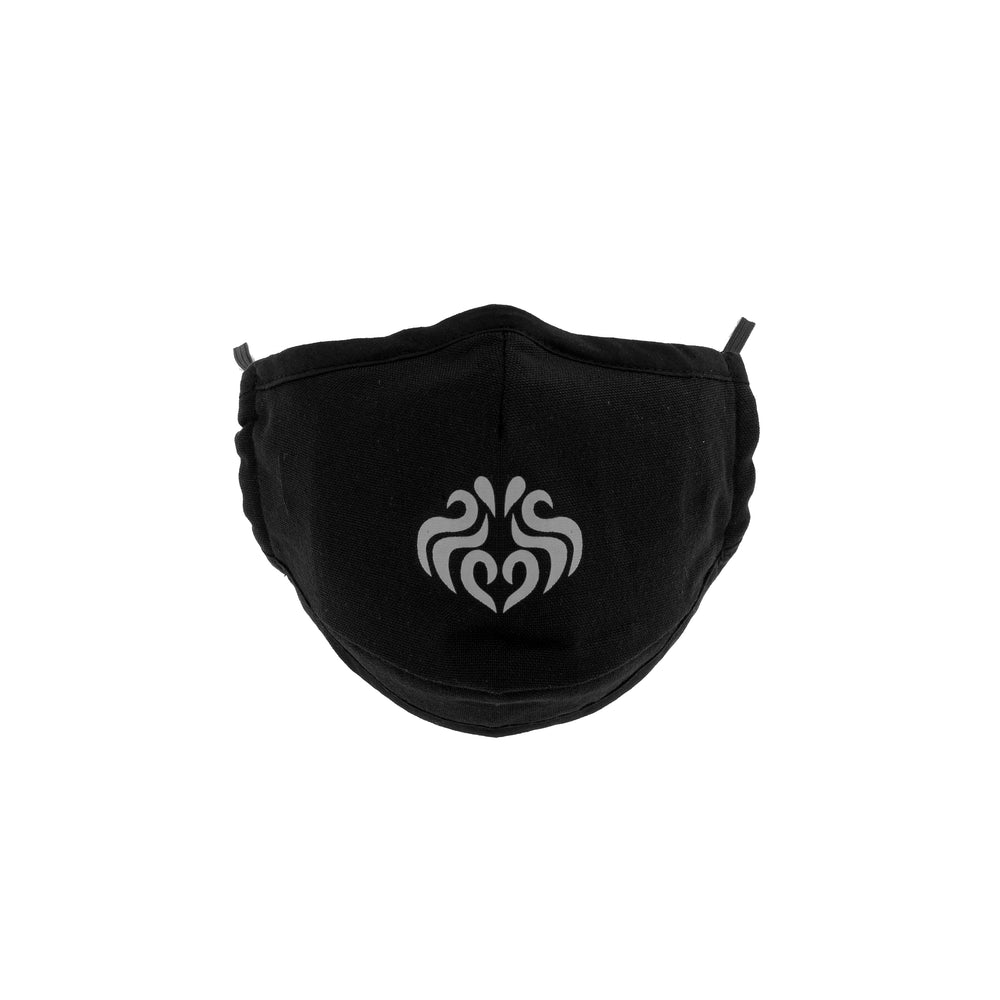 Seven Saints Signature Cotton Mask, Black with Pink Logo
