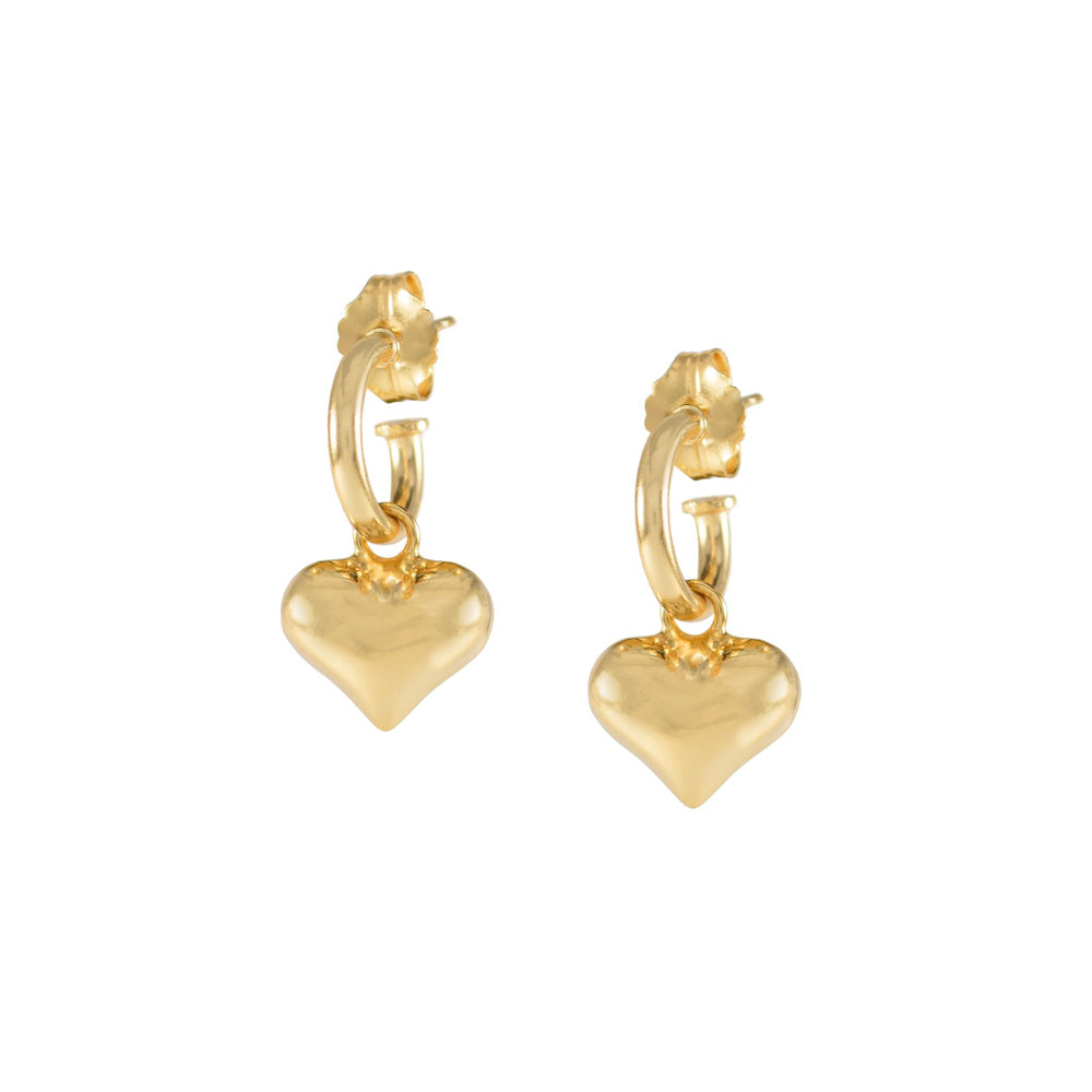 Puffy Heart Dangle Hoop Earrings, 18k Gold Vermeil
