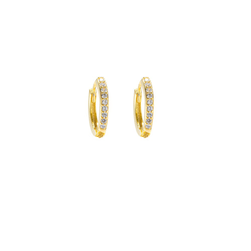 Thin Huggie Hoop Earrings, CZ Pave, 18k Gold Plated Sterling Silver