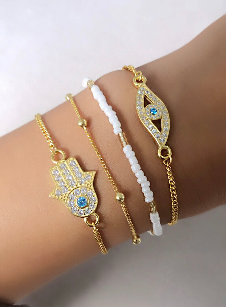 Evil Eye Protection Bracelet, Gold Plated Sterling Silver, Zirconia Diamond