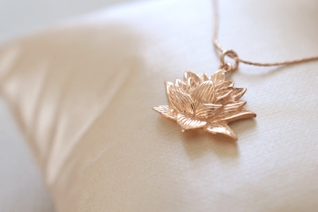 Awakened Lotus Necklace Rose Gold Vermeil