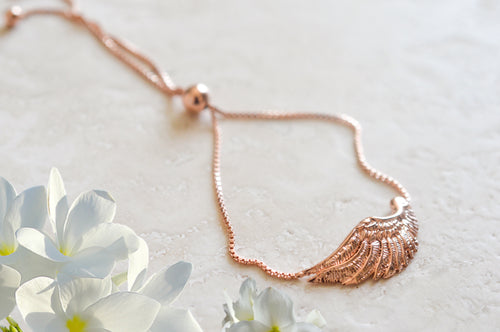 Angel Wing Bolo Friendship Bracelet Rose Gold Vermeil