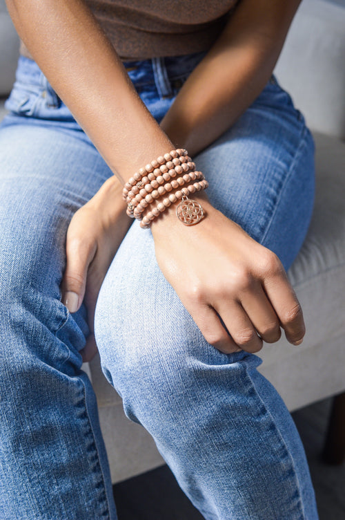 Feminine Grace Seed of Life Rosewood Wrist Wrap Mala, Rose Gold over Stainless Steel