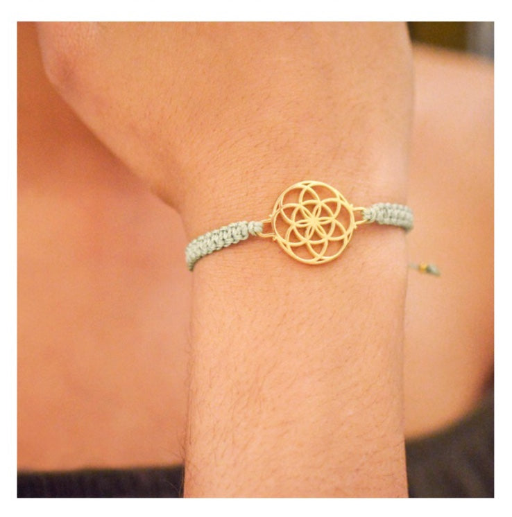 SEED OF LIFE 18K Gold Vermeil Macrame Bracelet, Sage Green Cord, One Size