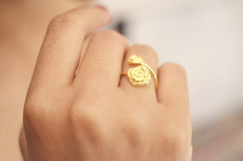 Double Rose Open Ring, One Size, 18K Gold Vermeil