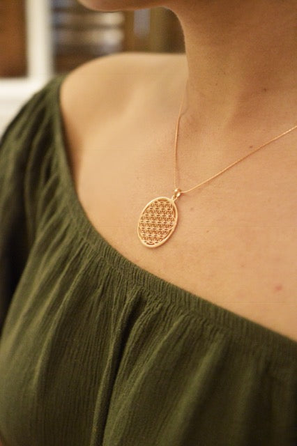 Flower of Life Necklace, White Rhodium